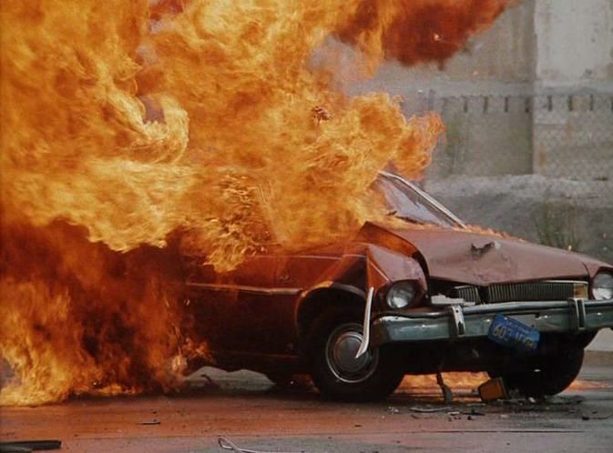 And naturally it explodes. & IMCDb.org: 1974 Ford Pinto Runabout in